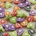 Acrylic beads, Assortment of colours, Heart shape, 3mm x 7mm x 7mm, 50g, 370 beads, (YKL0009)